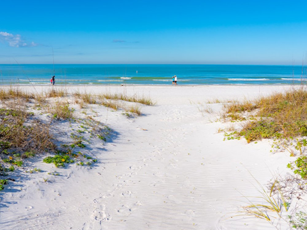 People walking in the white sands of Redington Shores