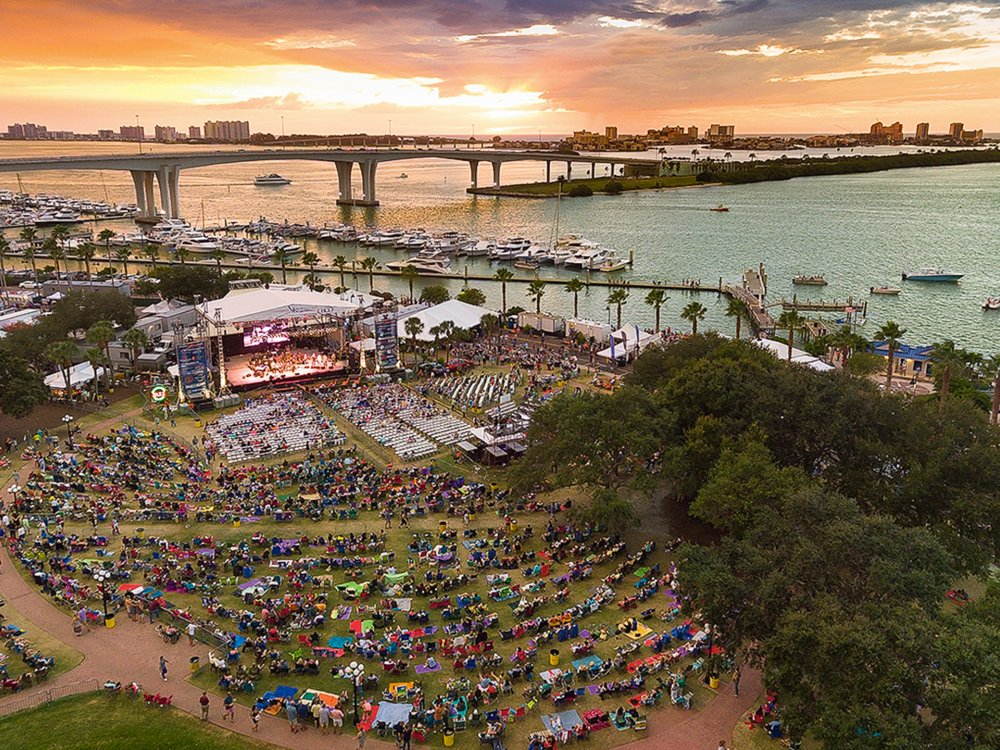 Clearwater Jazz Festival overview of crowd and bridge at Coachman Park during sunset